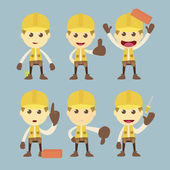 Industrial Construction Worker character set cartoon vector — Stock Photo