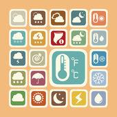 Icon set of weather sticker — Stock Photo