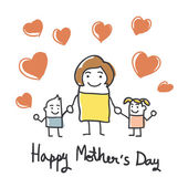 Happy mothers day card with cartoons — Stock Photo
