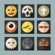 Halloween flat icons, vector — Stock Photo
