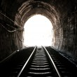 Stock Photo: Light at end of railroad tunnel