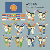 Asean people in traditional costume with flag — Stock Vector