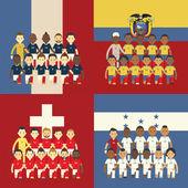Fußball-Nationalmannschaft und Flagge, Gruppe e — Stockvektor