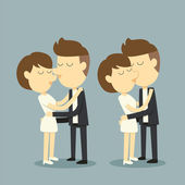 Couple kissing — Vector de stock