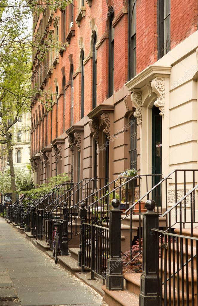 Row of apartments in greenwich village new york stock for Nyc greenwich village apartments