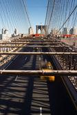Cars and on the Brooklyn Bridge, New York — Stock Photo