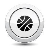 Botão prateado com ícone do esporte de basquete — Vetor de Stock