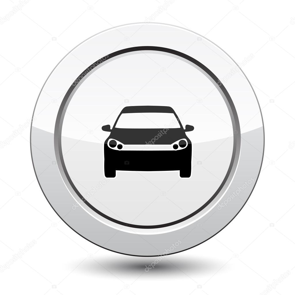 silver button with car icon stock vector robisklp 30205023. Black Bedroom Furniture Sets. Home Design Ideas