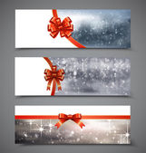 Christmas banners with ribbons — Stock Vector