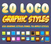 Comic Logo Graphics Styles — Wektor stockowy
