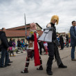 Stock Photo: Two cosplayer with sword