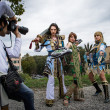 Stock Photo: Groups of costumed players are photographed