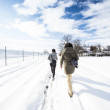 Trekking in a snow — Stock Photo