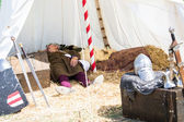 Man with medieval costume sleep in tend — Stock Photo