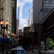 Elevated railway in chicago — Stock Photo