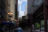 Elevated railway in chicago — Zdjęcie stockowe