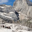Trekking on italians dolomities — Stock Photo