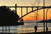 Sunset at Douro River in Porto — Stock Photo