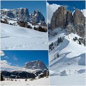 Vista de la montaña con nieve - dolomitas — Foto de Stock