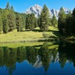 Odle reflected in the lake, Italy — Stock Photo
