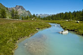 Alpe Devero, views of the river and forest — Stock Photo