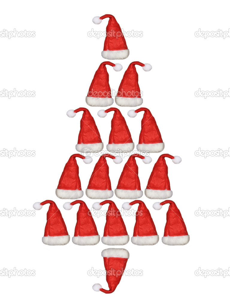 Christmas tree with Santa Claus hat  Stock Photo #16925573