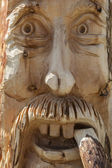 Face wood sculpture — Stock Photo