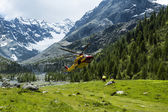 Alpine helicopter rescue — Stock Photo