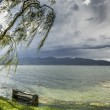 The bench on the lake Maggiore overflowed its banks — Stock Photo