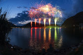 Fireworks on the Lugano Lake — Stock Photo