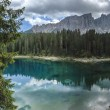 Carezza lake and Latemar, Dolomites — Stock Photo