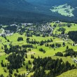 Aerial view of the village of Karersee, Dolomiti — Stock Photo