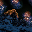 Stock Photo: Fireworks over Matterhorn