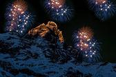 Fireworks over the Matterhorn — Photo