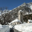 Stock Photo: Old Church in winter season, Macugnag- Italy