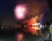 Fireworks on the Lugano Lake, Lavena-Ponte Tresa — Stock Photo