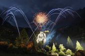 Pyrotechnic show, locations Toce waterfall - Piedmont — Stock Photo