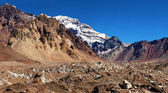 Mountain panorama of Aconcagua, the highest mountain in South America, as seen from South Side, Mendoza, Argentina — Stock Photo
