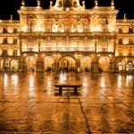 Famous Plaza Mayor in Salamanca at night, Castilla y Leon, Spain — Stock Photo