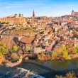 Panoramic view of the historic city of Toledo with river Tajo in Castile-La Mancha, Spain - Stock Photo