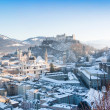 Panoramic view of the historic city of Salzburg in winter, Salzburger Land, Austria - Stock Photo