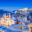 Historic city of Salzburg with Festung Hohensalzburg in winter, Salzburger Land, Austria — Stock Photo #24223907