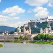 Stock Photo: Salzburg skyline with Festung Hohensalzburg and river Salzach, Salzburger Land, Austria