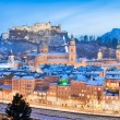 Historic city of Salzburg with Festung Hohensalzburg in winter, Salzburger Land, Austria — Stock Photo #24223917