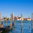 Gondola on Canal Grande with San Giorgio Maggiore church in the background as seen from San Marco, Venice, Italy. — Stock Photo #24224873