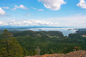 Woman standing on a rock and enjoying the beautiful view on Vancouver Island, British Columbia, Canada — Stock Photo