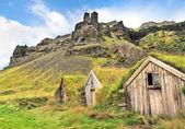 Bellissimo paesaggio con tappeto erboso tradizionale case in islanda — Foto Stock