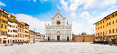 Piazza Santa Croce with famous Basilica di Santa Croce in Florence, Tuscany, Italy — Stock Photo