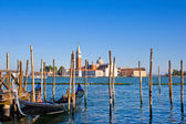 Gondola on Canal Grande with San Giorgio Maggiore church in the background as seen from San Marco, Venice, Italy. — Stock Photo