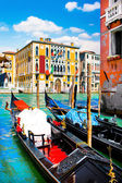 Gondolas at Canal Grande in Venice, Italy — Stock Photo